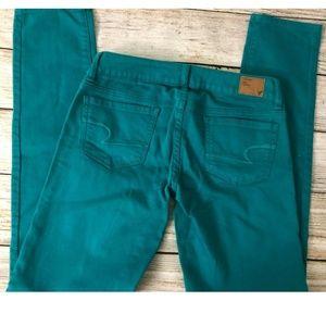 American Eagle Skinny 0 Stretch Jeans Teal Green